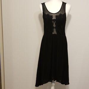 Sans Souci embroidered black mesh high-low dress